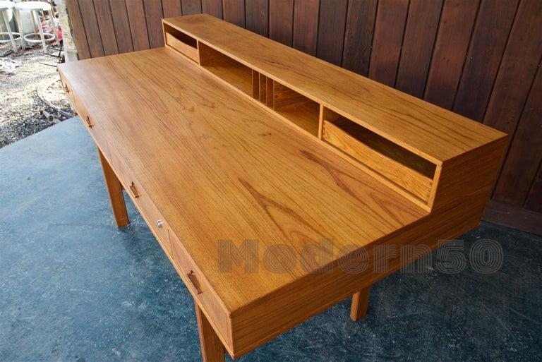 1960s Architect Table Lovig Flip-Top Teak Partners Desk Scandinavian Midcentury For Sale 2