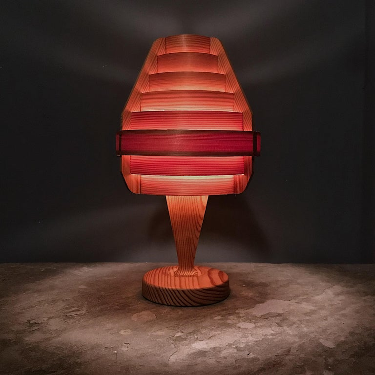 Mid-20th Century 1960s Architectural Jaktstuga Pinewood Bedside Table Lamps Lanterns Chalet Lodge For Sale