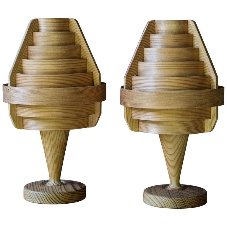 1960s Architectural Jaktstuga Pinewood Bedside Table Lamps Lanterns Chalet Lodge For Sale