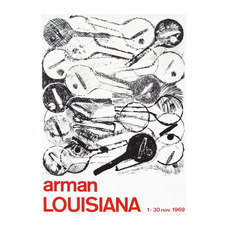 Modern 1960s Arman Art Exhibition Poster Design Pop Art Guitar For Sale