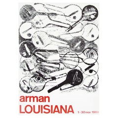 1960s Arman Art Exhibition Poster Design Pop Art Guitar