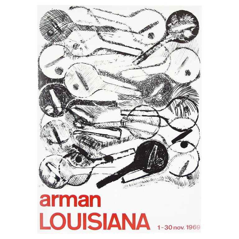1960s Arman Art Exhibition Poster Design Pop Art Guitar For Sale