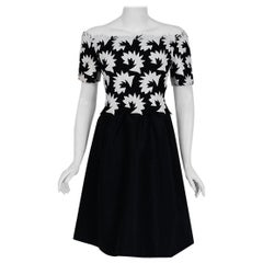 1960's Arnold Scaasi Black & White Leather Applique Silk Off-Shoulder Dress