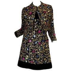 1960s Arnold Scaasi Couture Metallic Applique Dress Set