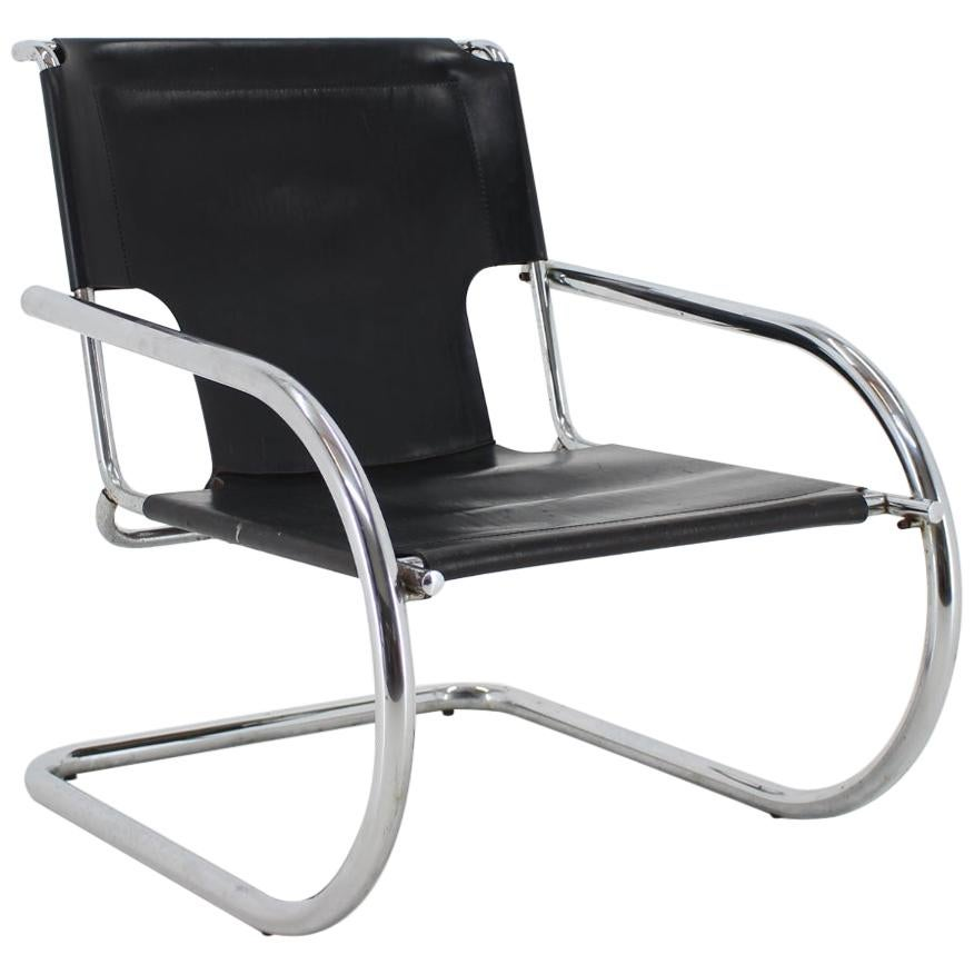 1960s Arrben Chrome and Leather Cantilever Chair, Italy