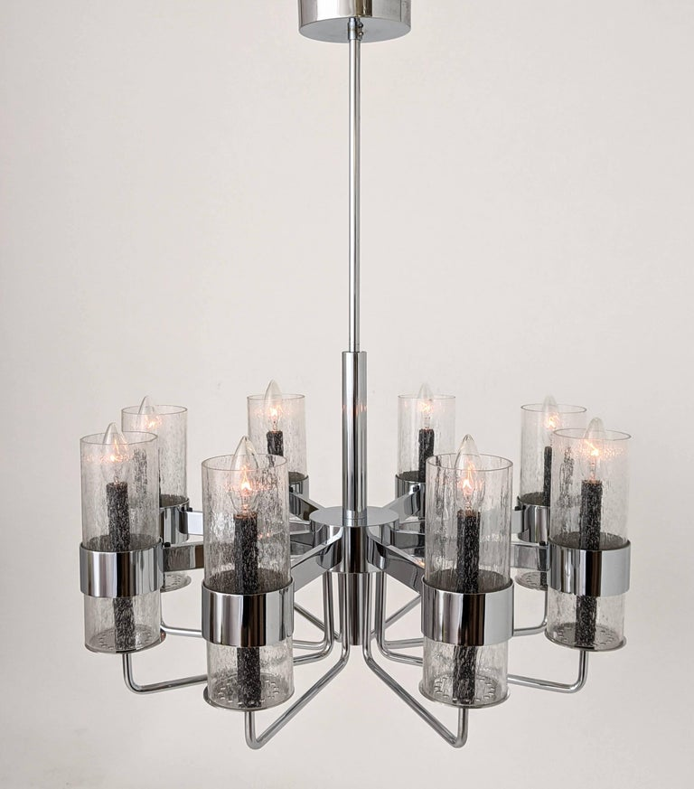 1960s Arredoluce Style Chrome Chandelier, Italia, circa 1960s For Sale 8
