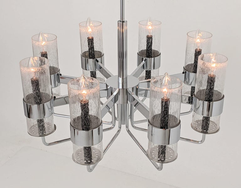 1960s Arredoluce Style Chrome Chandelier, Italia, circa 1960s For Sale 10