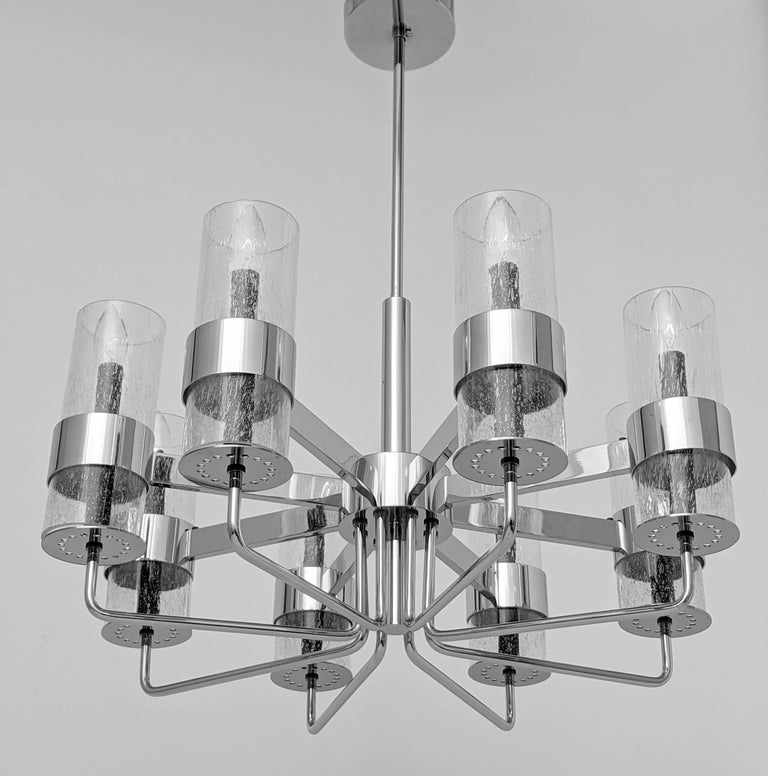 Italian 1960s Arredoluce Style Chrome Chandelier, Italia, circa 1960s For Sale
