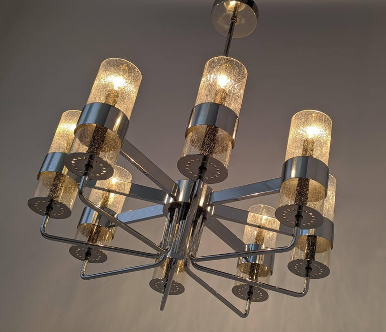 Brass 1960s Arredoluce Style Chrome Chandelier, Italia, circa 1960s For Sale
