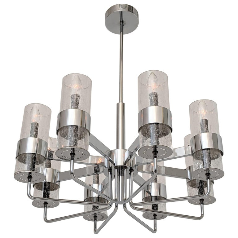 1960s Arredoluce Style Chrome Chandelier, Italia, circa 1960s For Sale