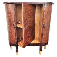 1960s Art Deco Midcentury Italian Walnut Burl and Turning Door Dry Bar Cabinet