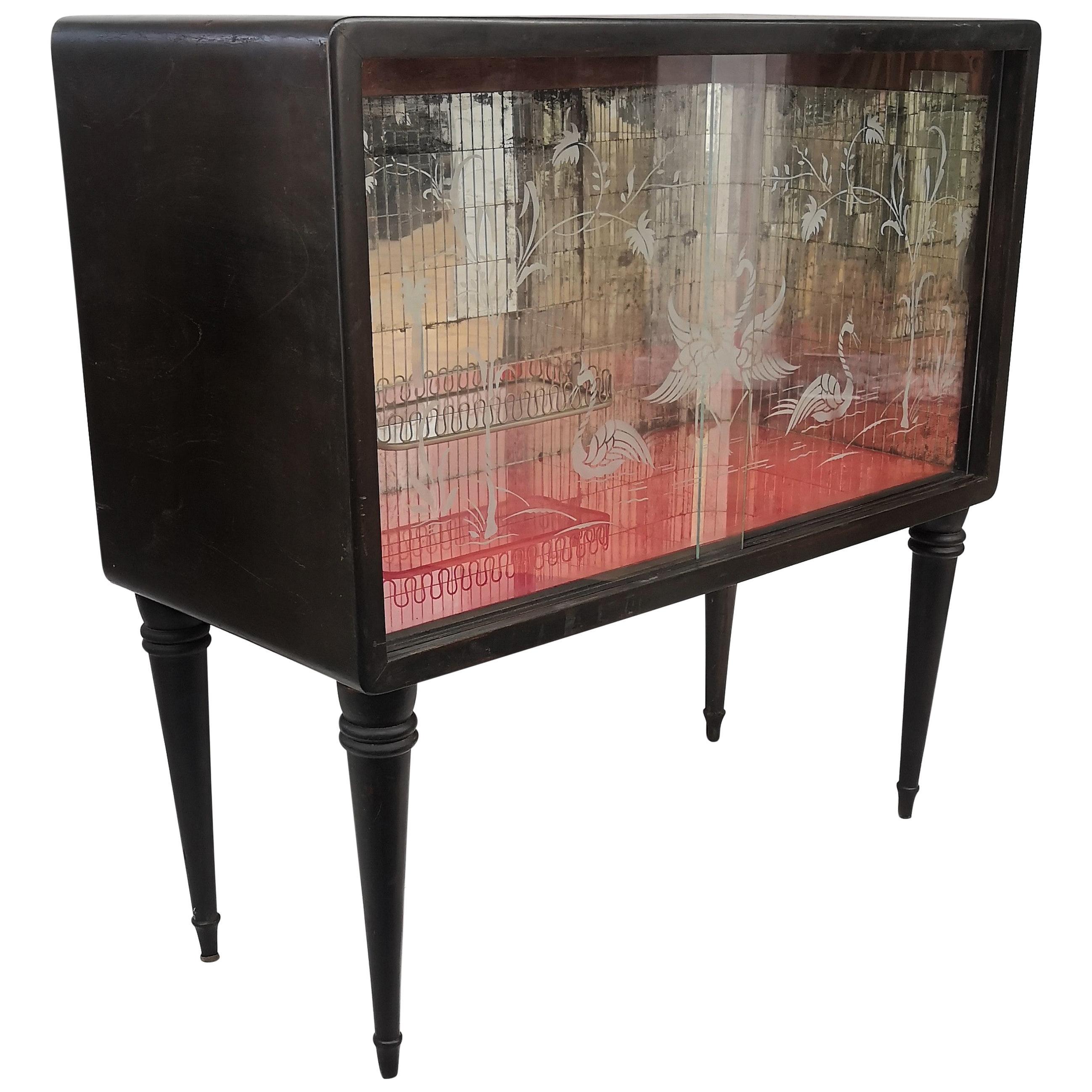 1960s Art Deco Midcentury Regency Italian Wood and Mirror Mosaic Dry Bar Cabinet