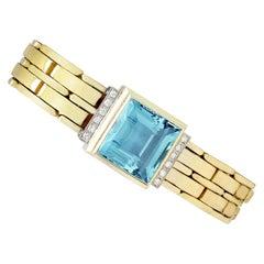 1960s Art Deco Style 21.68 Carat Aquamarine and Diamond Yellow Gold Bracelet