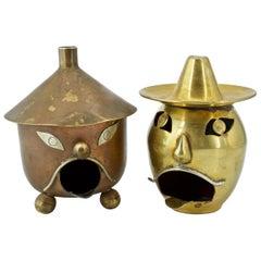 1960s Artes De Mexico Metalwork Ashtray Lantern Smokestack Incense Burner Candle