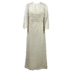1960s Artisanal Off- White Wedding Gown
