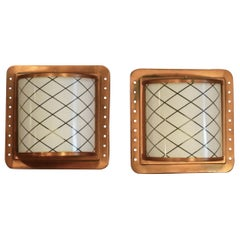 1960s Arts & Crafts Style Pair of Copper Wall Lights with Glass Diffusers