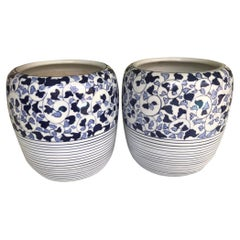 1960s Asian Modern Pair of Blue & White Ceramic Hibachis Floral Motif, Japan