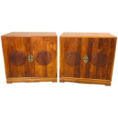 1960s Asian Teak Carved Front Side Tables, Pair