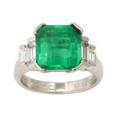 1960's Asscher Cut Emerald with Stepdown Baguette Mounting Platinum Ring
