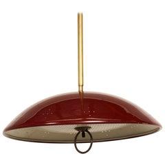 1960s Atomic Modern Perforated Red Saucer Dish Pendant Light Lightolier Made USA