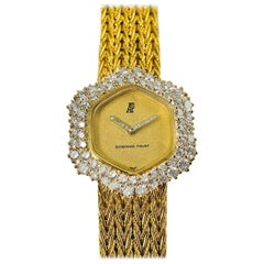 1960s Audemars Piguet 18 Karat Yellow Gold Double Diamond Row Bracelet Watch
