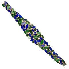 1960s Augustin Julia-Plana, Malachite, Lapis, Diamond and Gold Bracelet