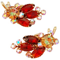 1960s Aurora Borealis & Amber Crystal Rhinestone Climber Earrings by Beau Jewels