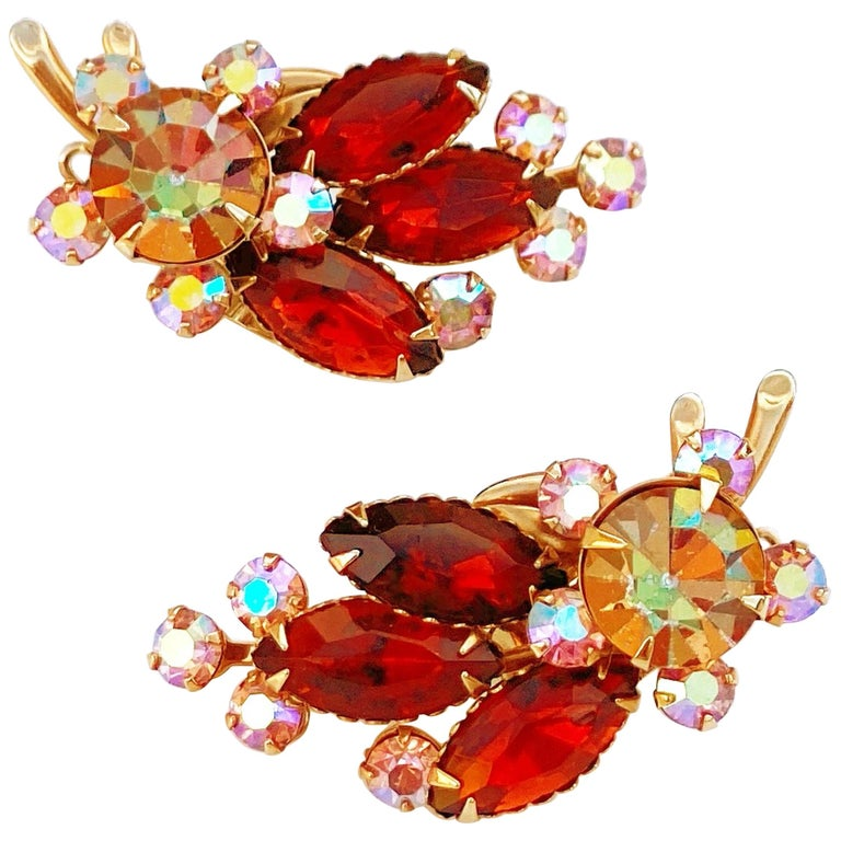 1960s Aurora Borealis & Amber Crystal Rhinestone Climber Earrings by Beau Jewels For Sale