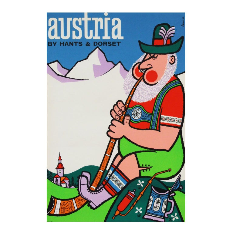 1960s travel poster for Austria designed by Harry Stevens for Hants and Dorset Buses, UK rolled.  Measures: L 76cm x W 51cm.