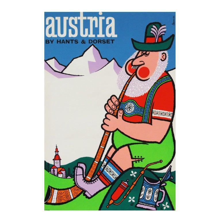 British 1960s Austria Travel Poster by Harry Stevens Pop Art For Sale