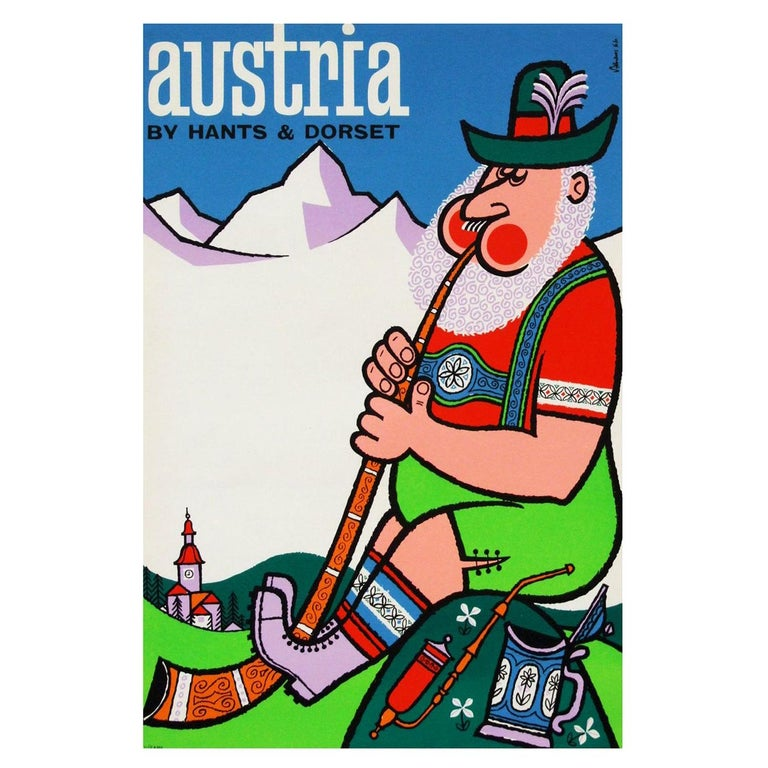 1960s Austria Travel Poster by Harry Stevens Pop Art For Sale