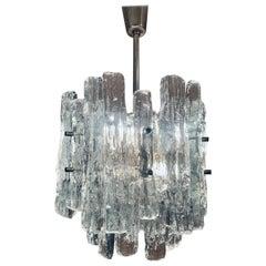 1960s Austrian Kalmar Lighting Two-Tier Iced Glass Chandelier. JT Kalmar design