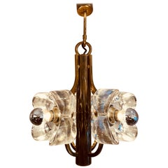 1960s Austrian Sische Brass and Glass Flower Pendant Hanging Ceiling Light