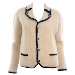 1960s Austrian Vintage Boiled Wool Ivory and Black Jacket With Nickel Buttons