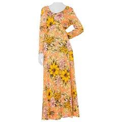 1960S AVALON Orange Polyester Long Floral Print Dress