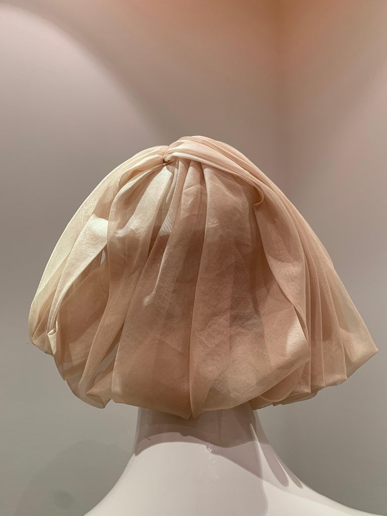 Women's 1960s Avant Garde Sonni Blonde Silk Organza Kerchief Styled Pleated Hat W/ Bow For Sale