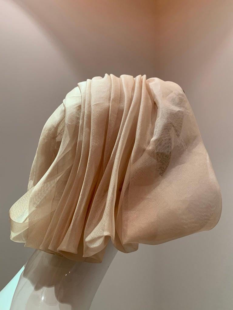 1960s Avant Garde Sonni Blonde Silk Organza Kerchief Styled Pleated Hat W/ Bow For Sale 1