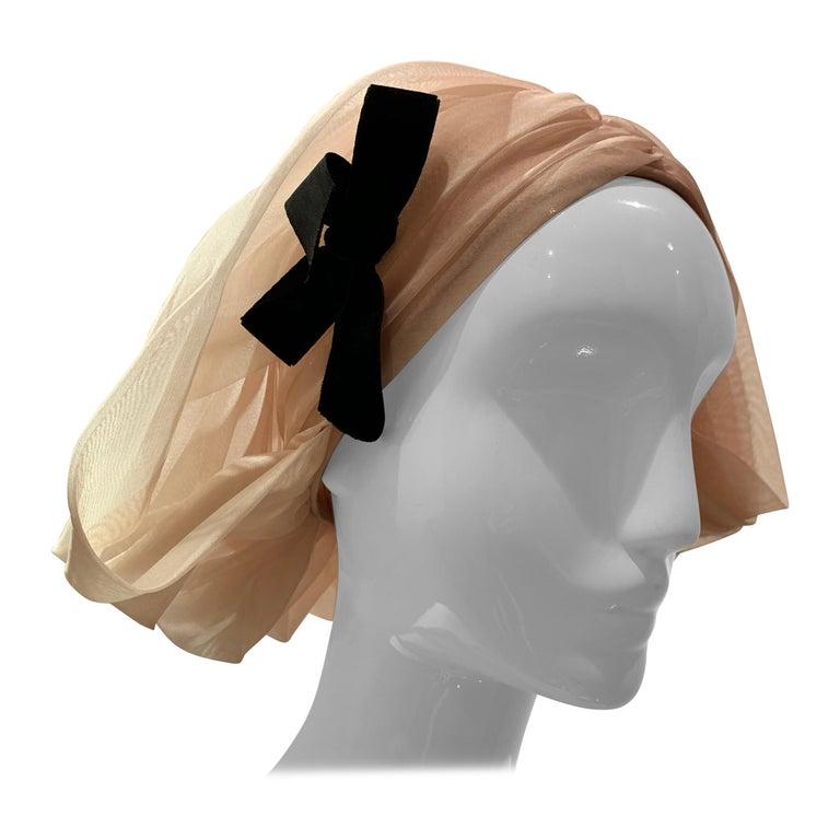 1960s Avant Garde Sonni Blonde Silk Organza Kerchief Styled Pleated Hat W/ Bow For Sale
