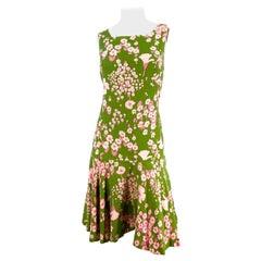 1960s Avocado Green Floral Printed Drop-Waist Day Dress