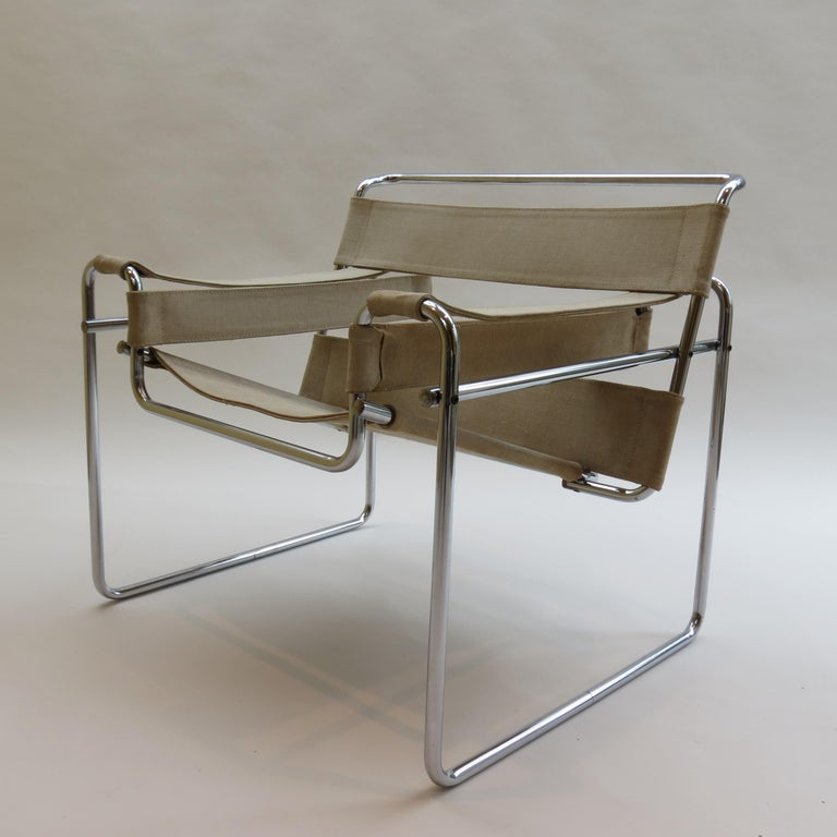 1960s B3 Wassily Chair in Beige Canvas by Marcel Breuer for Gavina Bauhaus B 3