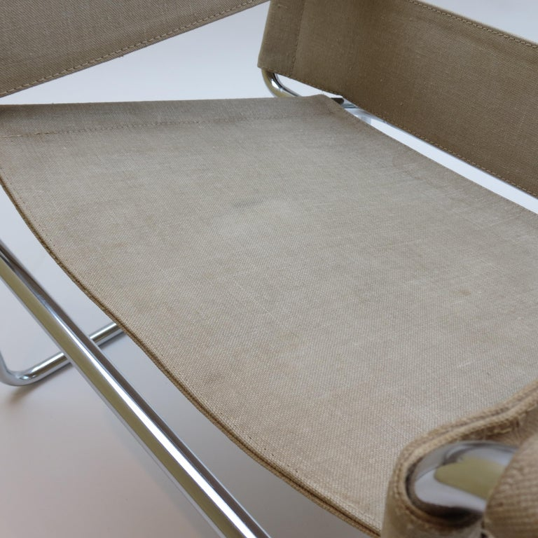 1960s B3 Wassily Chair in Beige Canvas by Marcel Breuer for Gavina Bauhaus B 4