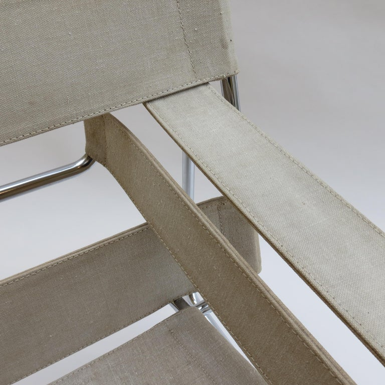 1960s B3 Wassily Chair in Beige Canvas by Marcel Breuer for Gavina Bauhaus B In Good Condition In Stow on the Wold, GB