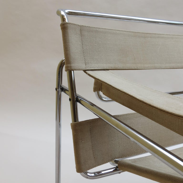20th Century 1960s B3 Wassily Chair in Beige Canvas by Marcel Breuer for Gavina Bauhaus B