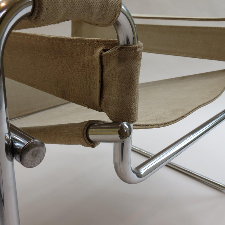 Chrome 1960s B3 Wassily Chair in Beige Canvas by Marcel Breuer for Gavina Bauhaus B