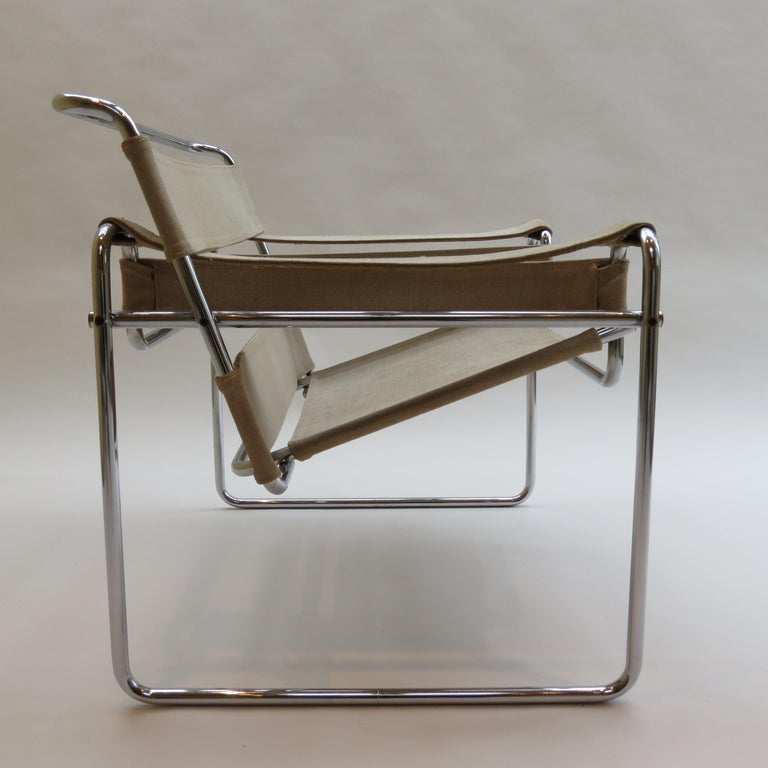 1960s B3 Wassily Chair in Beige Canvas by Marcel Breuer for Gavina Bauhaus B 1