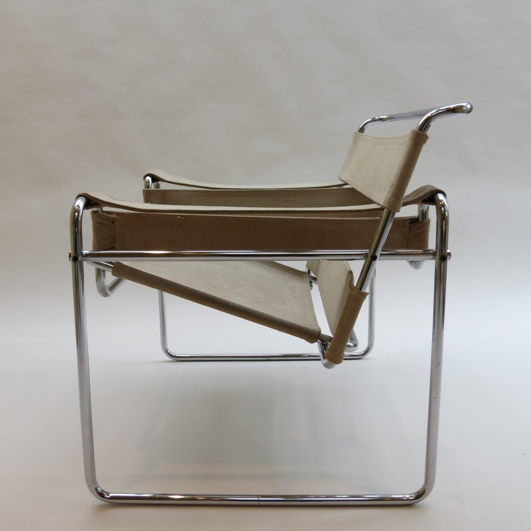 1960s B3 Wassily Chair in Beige Canvas by Marcel Breuer for Gavina Bauhaus B 2