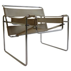 1960s B3 Wassily Chair in Beige Canvas by Marcel Breuer for Gavina Bauhaus B