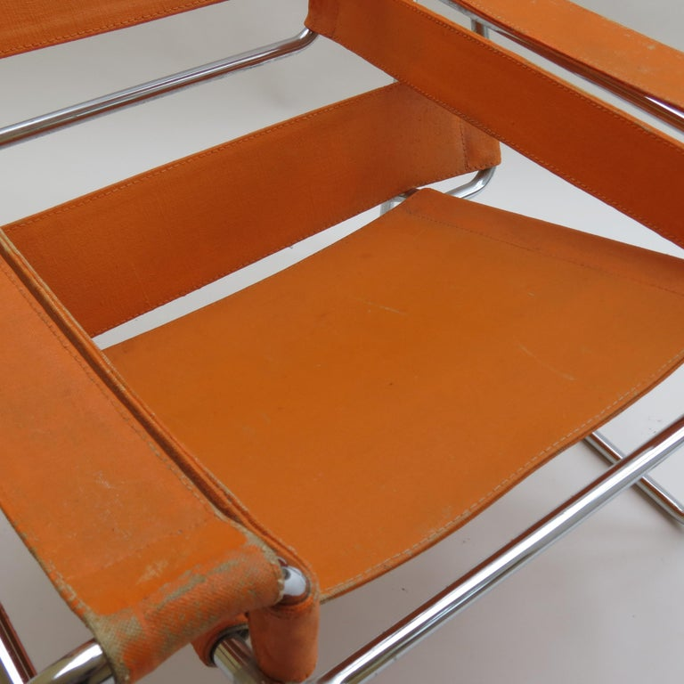 Italian 1960s B3 Wassily Chair in Orange Canvas by Marcel Breuer for Gavina, Bauhaus A
