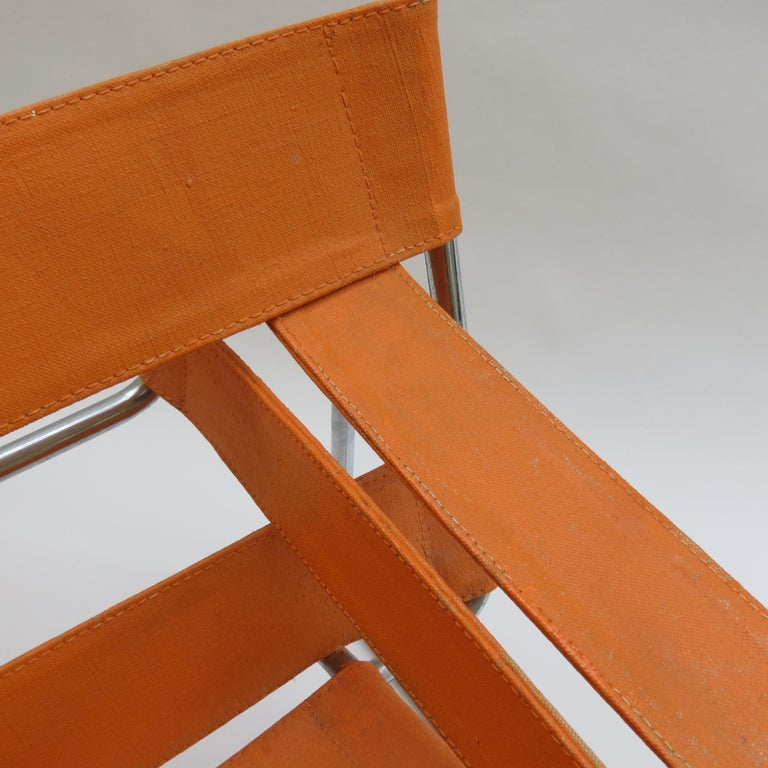 Machine-Made 1960s B3 Wassily Chair in Orange Canvas by Marcel Breuer for Gavina, Bauhaus A