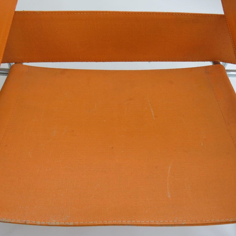 1960s B3 Wassily Chair in Orange Canvas by Marcel Breuer for Gavina, Bauhaus A In Good Condition In Stow on the Wold, GB
